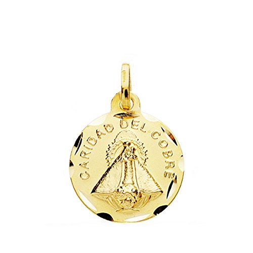Medalla Oro 18K Virgen Caridad Del Cobre 16mm Cerco Tallado. [Ab3818Gr] - Personalizable - Grabación Incluida En El Precio