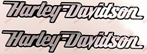 Escudo Logo Decal Harley Davidson, par pegatinas resinati, Silver, efecto 3d. Para depósito o casco.