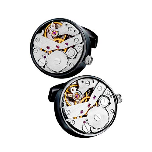 LJJ Gemelos para Hombres, Movimiento De Reloj De Bolsillo CláSico, Botones Personalizados, Utilizados para Regalos De CumpleañOs De Bodas De Negocios para El DíA del Padre