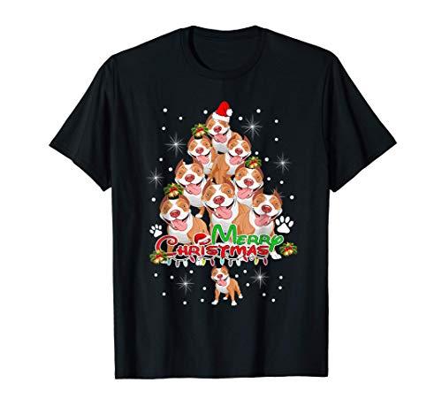 Pitbull Christmas Tree Xmas Lover Gift For Pitbull Dog T-Shirt