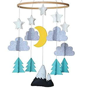 Sorrel + Fern Baby Crib Mobile- Starry Woodland Night Nursery Decoration | Crib Mobile for Boys and Girls (Mint)