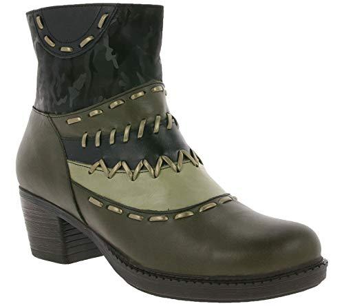 Gemini Stiefelette modische Damen Echtleder-Boots mit Stickereien Freizeit-Schuhe Casual-Stiefel Oliv/Schwarz, Größe:37