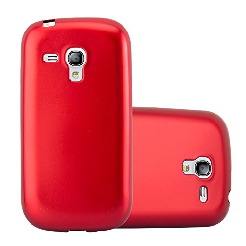 Cadorabo Hülle für Samsung Galaxy S3 Mini - Hülle in METALLIC ROT – Handyhülle aus TPU Silikon im Matt Metallic Design - Silikonhülle Schutzhülle Ultra Slim Soft Back Cover Case Bumper