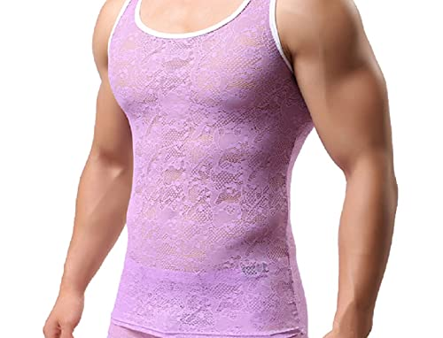 Men's Lace Singlet Floral Sheer Mesh Vest Racer Back Tank Top Sleeveless Sports Undershirts Casual Summer Top Purple M
