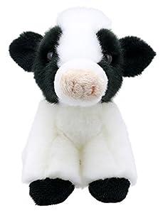 Lashuma Vaca de peluche en blanco y negro, pequeña ternera de la granja, 15 cm