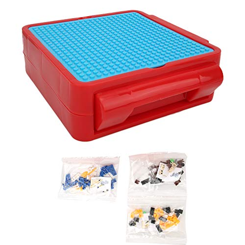 Zerodis Caja de Almacenamiento de Bloques de construcción para niños multifuncionales, Kit de Juguetes de ladrillo para niños Caja de Maletas Accesorios Placa Juguete Educativo(Rojo Azul)