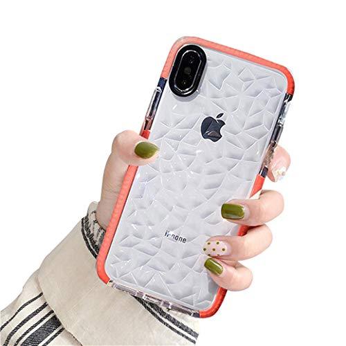 Jacyren Hülle für iPhone XS MAX, iPhone XR Handyhülle Ultradünn Transparent Silikon Schutzhülle [Diamant Muster Design] Schutzschale Tasche Hülle Case Cover für iPhone X XS (iPhone XR, Orange)