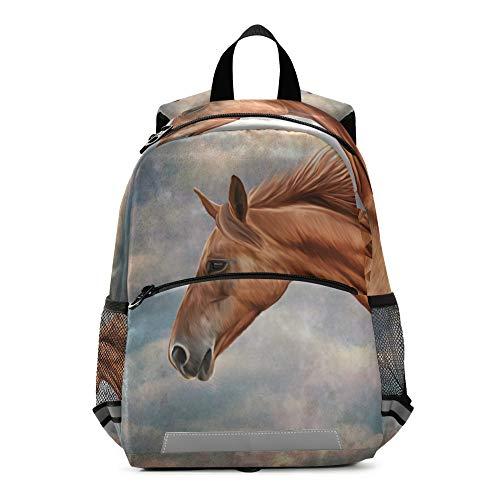 Mochila para niños con patrón de caballo con correa en el pecho, mochila escolar para preescolar, para niños y niñas