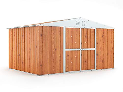 Box in Acciaio Zincato Casetta da Giardino in Lamiera 4.03 x 2.69 m x h2.17 m - 149 KG – 10.84 metri quadri (LEGNO)