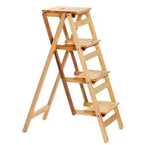 TTWUJIN Zusammenklappbarer tragbarer Leiter-Tritthocker Starker und langlebiger vierstufiger Leiter-Massivholzhocker Stufen-Hochhocker aus Holz Wechselschuhbank Badezimmerhocker Modischer Treppenstuh