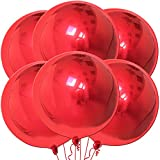 Giant Red Chrome Balloons Set - Pack of 6   Large 22 Inch 360 Degree 4D Round Sphere Balloons   Red Metallic Balloons   Mylar Foil Mirror Finish   Big Red Balloons for Wedding, Birthday, Baby Shower