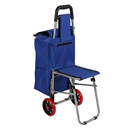 Dporticus Multipurpose Folding Utility Cart with Built-in Seat for Laundry, Grocery, Shopping and More