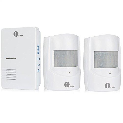 1byone alarma inalámbrica para la seguridad del hogar, alarma de entrada, timbre infrarrojo, receptor enchufable y 2 sensores de movimiento infrarrojos, kit de alarma a la intemperie