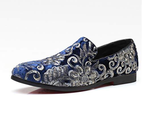 Zhang Herren Formelle Schuhe Komfort-Schuhe & Karriere Loafers & BelegONS Satin Breathable Non-Slipping Wear Proof Sequin/Schwarz/Rot/Blau,Blau,47