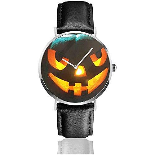Halloween Kürbis Lichter Gesicht Unisex Uhr Mode Sport Uhr Lederuhr Armbanduhren Business Watch