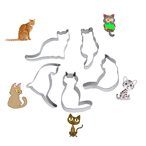 WIN 5pcs Cute Cat Shape Cookie Cutter Stainless Steel Fondant Cutter Cake Decoration Tool Set