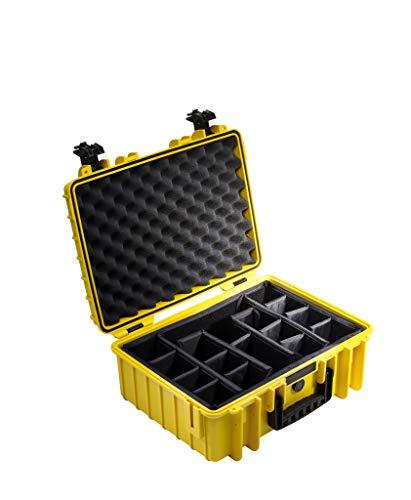 B&W Transportkoffer Outdoor Typ 5000 gelb mit variabler Facheinteilung - wasserdicht nach IP67 Zertifizierung, staubdicht, bruchsicher und unverwüstlich