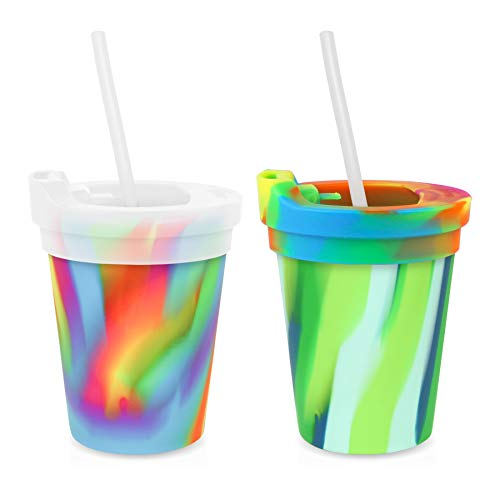 Silipint Silicone Kids' Cups with Lids and Straws