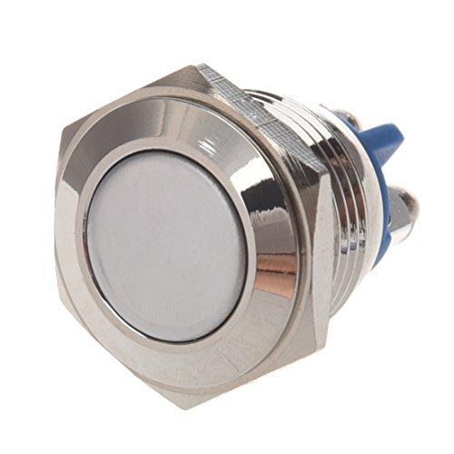 Wivarra AC 250V 3A NO 16mm Interruptor de boton pulsador redondo momentaneo del metal NO. Normalmente abierto