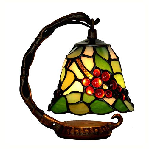 AIBOTY Tiffany Style UVA Night Light Hecho A Mano Vidrio Manchado Pantalla Pastoral Floral Mesa Lámpara para Sala De Estar Dormitorio Dormitorio Escritorio De La Cama Luces Decoración, E14,A