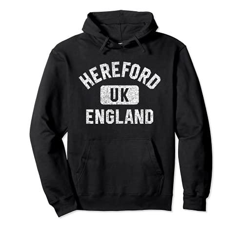 Hereford England UK Gym Style Distressed White Print Sudadera con Capucha