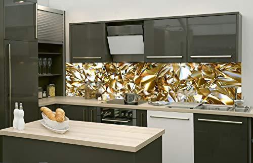 DIMEX LINE Küchenrückwand Folie selbstklebend Goldener KRISTALL | Klebefolie - Dekofolie - Spritzschutz für Küche | Premium QUALITÄT - Made in EU | 260 cm x 60 cm