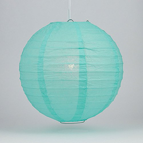 "Quasimoon PaperLanternStore.com 12"" Water Blue Round Paper Lantern, Even Ribbing, Hanging Decoration"