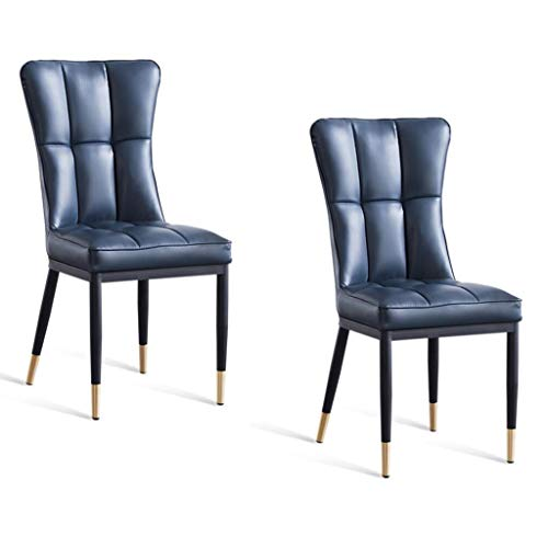 WTDlove PU Dining Chair Kitchen Chairs Set Of 2 With Cushion Seat High Back Chrome Studded Side Chair Hand Made For Home Kitchen Living Room