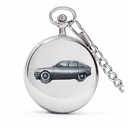 Clásico coche francés GS ref48 diseño de efecto peltre en una caja de plata pulida para hombre de cuarzo reloj de bolsillo
