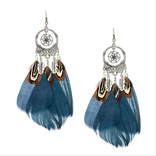 Boucles d'oreilles pour femmes femmes filles plumes naturelles gland boucles d'oreilles Boho Vintage plume ethnique balancent Earirng Charm E020522D