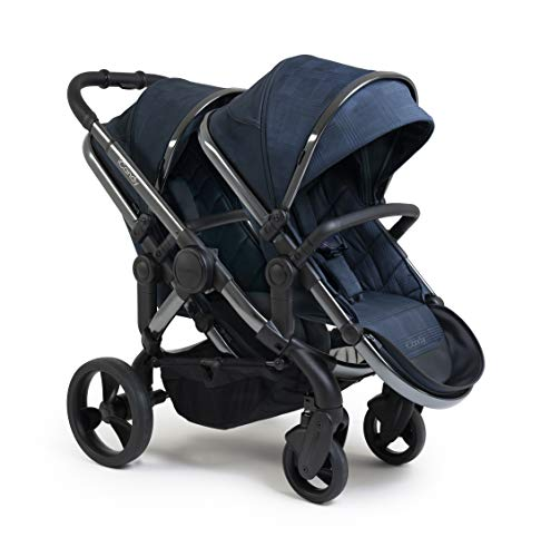 iCandy Peach Phantom Navy Check Pushchair & Carrycot Double