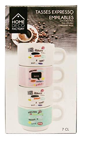 CMP Home Deco Factory - Juego de 4 tazas de café apilables...