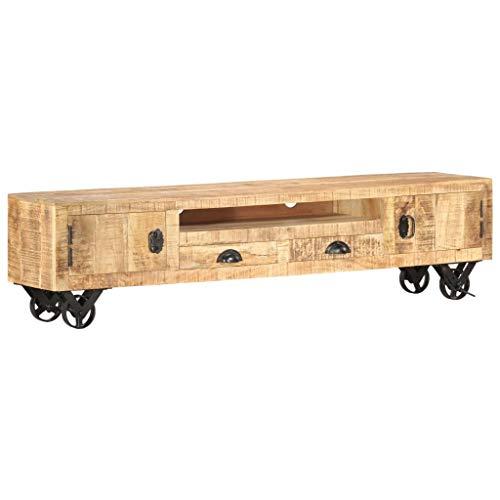 Extaum Estilo Vintage Mueble para TV Madera Maciza de Mango 150 x 30 x 37 cm con 1 Compartimento, 2 cajones, 2 Puertas y 4 Ruedas, Soporte de TV Aparador, Armario Auxiliar