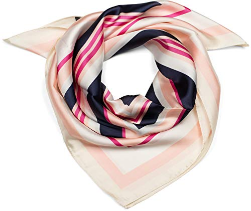 styleBREAKER Damen Dreieckstuch mit farbigen Quadraten, Multifunktions Tuch, Halstuch, Kopftuch, Bandana 01016196, Farbe:Rose-Pink-Dunkelblau