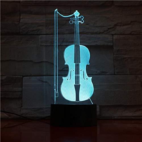 HGFHGD Lámpara de Mesa violín lámpara 3D Control Remoto Toque luz Nocturna...