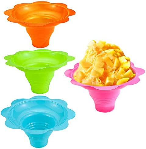 Newbested 50 Pack 4 OZ Colorful Flower Shaped Snow Cone Cups Small Plastic Shaved Ice Drip Cups product image