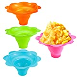 Newbested 50 Pack 4 OZ Colorful Flower Shaped Snow Cone Cups,Small Plastic Shaved Ice Drip Cups Snack Ice Cream Bowls for Kids Party Summer Cookout Commercial Food Service