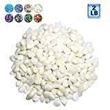 BXI - Decorative Stones - Garden Yard Walkway Fish Tank Aquaruim - Gravel Pebble Rock - 2 Pounds (White Pebble)