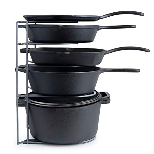 Heavy Duty Pan Organizer Extra Large 5 Tier Rack  Holds Cast Iron Skillets Dutch Oven Griddles  Durable Steel Construction  Space Saving Kitchen Storage  No Assembly Required  Grey 154inch