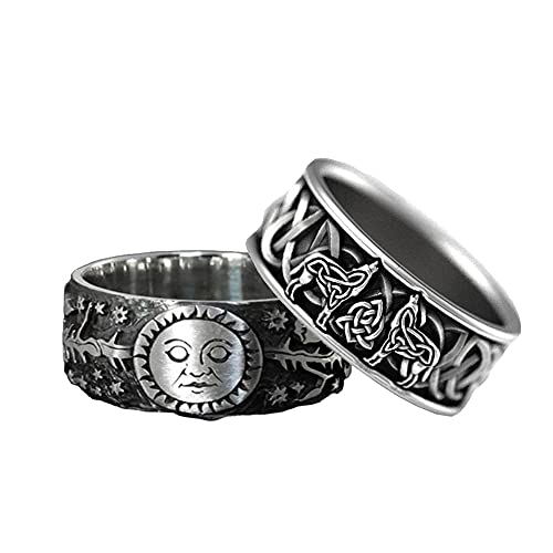 Ronsiay Sun Moon Rings, Vintage Viking Wolf Rings, Hip Hop Rock Punk Jewelry, Fashion Accessories, Norse Mythology, Animal Totem (8)