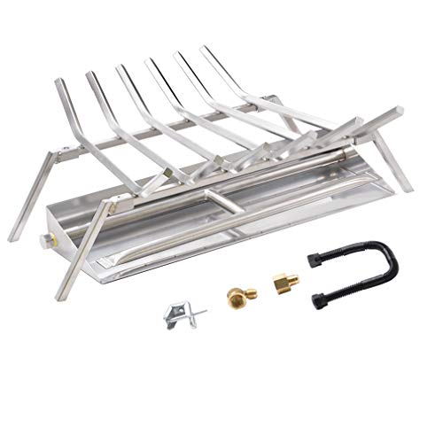 Skyflame 24-inch Fireplace Log Grate with Dual Burner Pan and Connection Kit for Natural Gas, 304 Stainless Steel