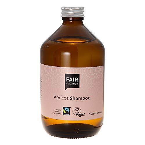 FAIR SQUARED mildes Haar Shampoo Apricot 500 ml Aprikosenshampoo - Vegane Naturkosmetik in der Zero Waste Mehrweg-Glasflasche