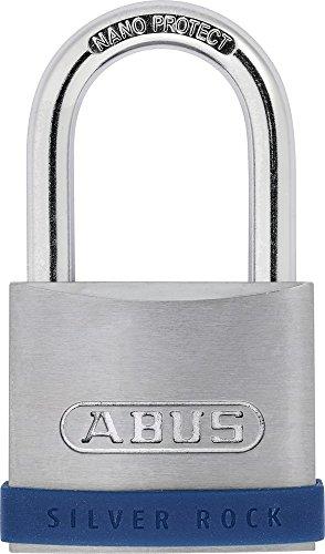 ABUS Vorhängeschloss Silver Rock 5/50 aus massivem Zink - mit Silikon Schutzrahmen - Kellerschloss u. v. m - ABUS-Sicherheitslevel 7 - Blau/Silber