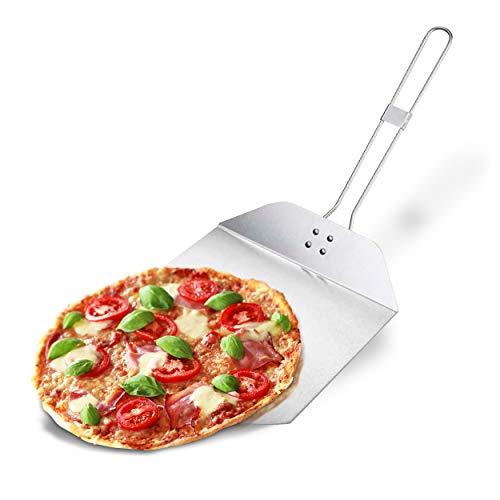 Oramics Pizzaschieber faltbar Pizzaschaufel aus Edelstahl – Pizzawender 25 x 35 cm ; Faltbarer Griff 34 x 4 cm – Optimal als Wender und Heber für Brot, Pizza, Flammkuchen und Kuchen