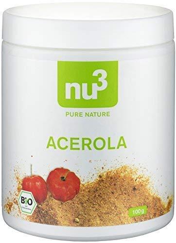 nu3 Polvo de Acerola Orgánico - 100g de limadura de bayas cultivadas en Brasil – Alto contenido de vitamina C pura - Refuerzo natural del sistema inmunológico - Ideal en batidos multivitamínicos