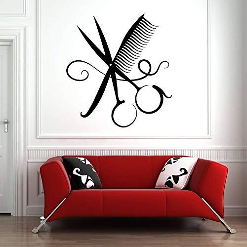 Adhesivo de pared para peluquería, peine, tijeras, adhesivo artístico para pared, decoración de vinilo, patrón de peluquería, autoadhesivo