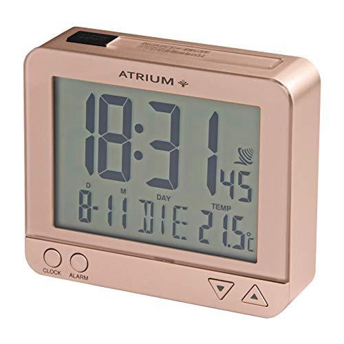 Atrium A760-17 Radiogestuurde wekker, digitaal rosé metallic, sensorgestuurd nachtlampje, bovenafstand, datum en temperatuurweergave