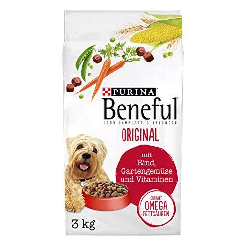 PURINA BENEFUL Original Hundefutter trocken, mit Rind und Gartengemüse, 4er Pack (4 x 3kg)