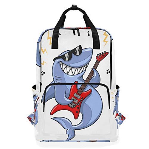 ZOMOY Mochilas,Dibujos Animados Tiburón Gafas Sol Guitarra Eléctrica Vector,Nuevo portátil Informal Ligero...