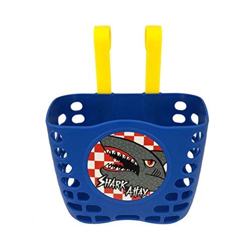 VORCOOL Kinder Fahrradkorb Mini-Fabrik Niedlichen Cartoon Shark Attax Muster Hängen Kunststoff Kurze Bar Fahrrad Lenkerkorb für Jungen (Blau)